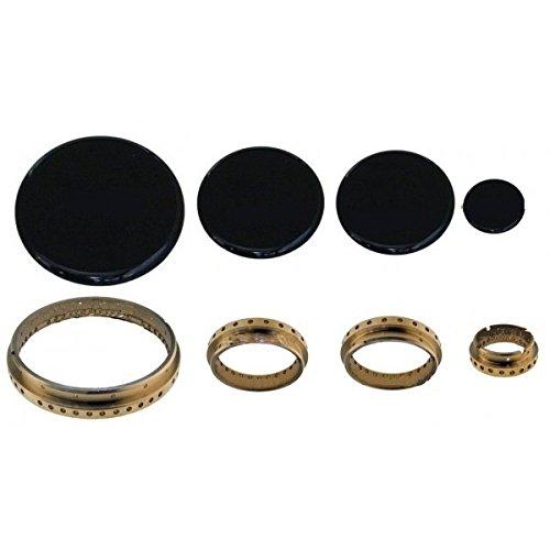 1 Satz Brennerdeckel/Flammenverteiler für Gasherd Samet Art .S 4716 + 4719, Ringe und Platten aus Messing, 4 Stück