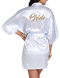 Huateng Novia de la Boda Robe Satin Rayon Bata de Dormir camisón para Mujer Kimono Ropa