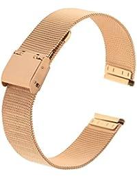 Sharplace Correa para Reloj, Acero Inoxidable Patrón Malla, 14 mm/16 mm/18 mm/20 mm/22 mm - Oro Rosa 18 mm