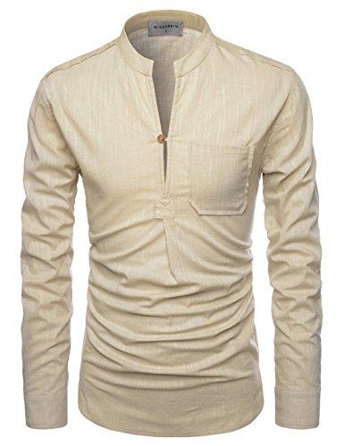 Nearkin Herren Freizeit-Hemd, Durchgehend Gr. XX-Large, NKNKN351-BEIGE (Striped-shorts Plaid)