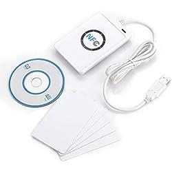 NFC RFID NFC Lecteur RFID Reader Lecteur de carte Lecteur/stylo ACR122U ISO 14443 A/B + Logiciel libre en blanc