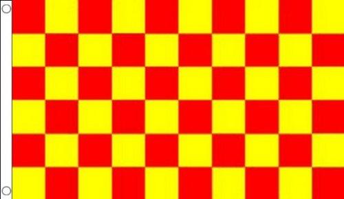 BANDIERA A SCACCHI ROSSI E GIALLI 150x90cm - BANDIERA SCACCHIERA ROSSA E GIALLA 90 x 150 cm - AZ FLAG