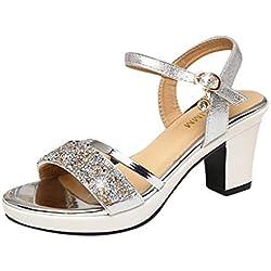 HuaMore Mujer De Tacón Alto Zapatos, Sandalias De Tacón Grueso De Strass, Zapatos Romanos Tacones Altos EU 35-40
