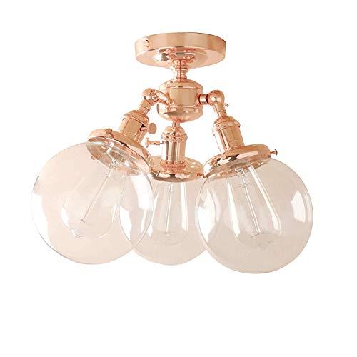 1949shop Industrielle Vintage viktorianischen 3 Lichter Deckenlampe hängen Pendelleuchte Globus Klarglas Licht Schatten Lampe Leuchte Kronleuchter für Küche Insel Wohnzimmer Esszimmer (Kupfer) (Klarglas 3 Pendelleuchte)