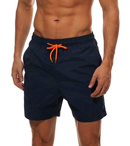 KEFITEVD Strandhose Kurz Männer Beachshorts lässig Urlaub Bermuda Shorts Bad Gummibund Schwimmshorts Wassersport Freibad Hallenbad Marineblau XL (Etikett: 3XL)