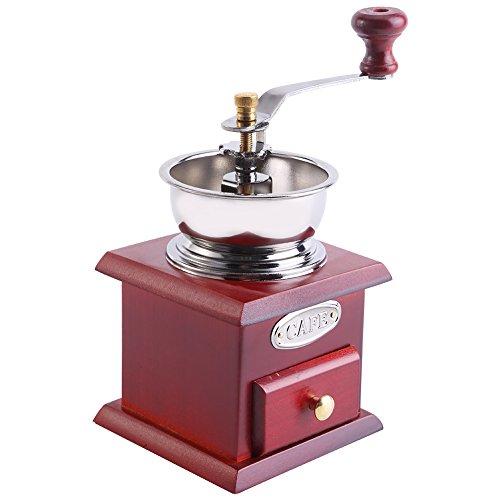 Aufee Manuelle Kaffeemühle, Kaffeemühle Hand Retro Holz Kaffeemühle Werkzeug für Zuhause unterwegs (Rotes hölzernes) (Holz Hand-kaffeemühle)
