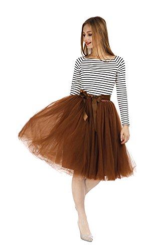 Pulchram Gonna in Tulle 7 Strati Sottogonna Balletti Petticoat Tutu con Cintura per Festa Party Marrone