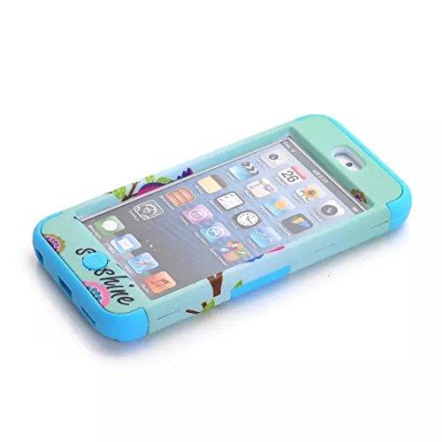 Touch 5, iPod Touch5 cas, iPod Touch 5 Case, étui de protection Lantier mignon beau soleil Owls Motif High Impact Armure Housse pour Apple iPod Touch 5 5ème Génération Noir Cute Lovely Sunshine Owls Blue