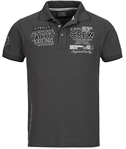 Preisvergleich Produktbild Kurzarm Shirt | T-Shirt für Herren Kimono von Geographical Norway - lässiges Rundhals Baumwoll Sommer Polo-Shirt mit Stickereien in Grau, Gr. M