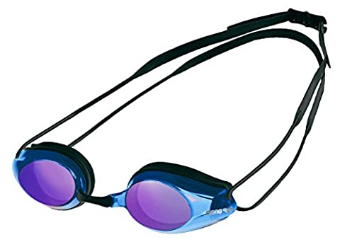 Arena Tracks Miroir Swim Goggle–Verres miroir–Noir/Bleu