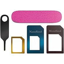 Adaptador Nano SIM para Micro a Nano tarjeta SIM to Standard Card 5in 1Todo Talla SIM Adapter el iPhone 5/5S/4S/4incluye adaptadores para todos los formatos SIM