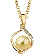 Idea Regalo - The Pearl Source   14k (585)  oro giallo  Rotonda Perle coltivate dei Mari del Sud  Diamante Perla