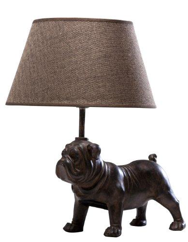 Preisvergleich Produktbild Kare Nachttischlampe englische Bulldogge,  32776,  moderne,  kleine Tischleuchten im Hundedesign,  braun-beige (H / B / T) 35x32x24, 5cm