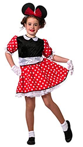 narrenkiste W3675-104 rot-schwarz-weiß Kinder Minniemauskleid Mauskostüm Gr.104