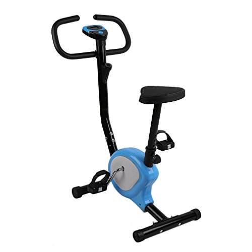 Hifeel Bicicleta estática Interior Ajustable Home Fitness Pedal estática Upright Pantalla LCD Bicicleta Upright - Bicicleta estática Indoor Ciclismo Bicicleta (Azul/Blanco)