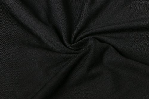 YiLianDa Donna Camicia Spalla-off Tunica Tops Orlo Irregolare Moda T-shirt Nero