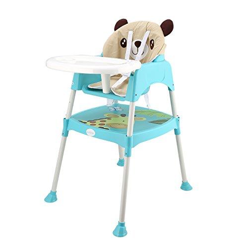 Hochstuhl Spieltisch (Smibie 3-in-1 Hochstuhl Multifunktional Verstellbar Baby Füttern Kinderhochstuhl mit abnehmbaren Kindersitz Kleinkindstuhl mit Spieltisch und Gurtsystem-Blau …)