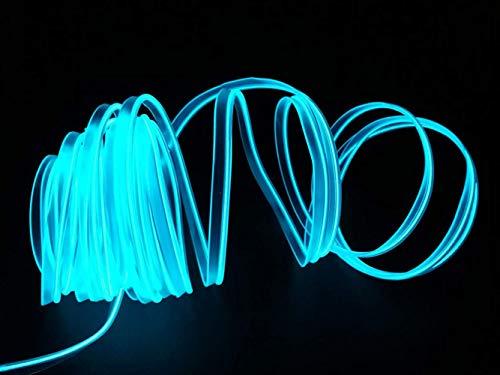 USB Neon EL Draht für Kostüm Cosplay Festival Dekoration Glühender Elektrolumineszenzdraht Licht Kaltlicht mit Laufwerk Licht Lampe Glow String Strip 2M / 6FT (Eisblau) (Kostüm Schrank)