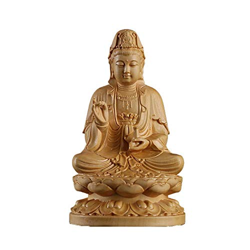 Traditionelle Holzschnitzerei (Ludage Wohnaccessoires Handwerk, Holzschnitzerei traditionellen Lotus Nanhai Bodhisattva Buddha-Statue aus Holz Handwerk Auto Ornamente)