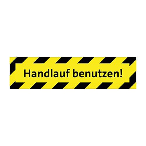 Handlauf benutzen - Warnhinweis Boden - 600x150mm - Rutschemmungsklasse R11