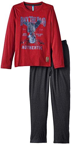 Lenny Sky Jungen Zweiteiliger Schlafanzug Gr. 122, Rot - Rouge (Rouge/Gris Ch)