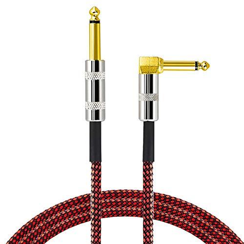 Sguan-wu 300cm Cable de guitarra eléctrica Cable de bajo Recto Enchufe de ángulo recto Línea de instrumentos - Rojo + Negro 300cm