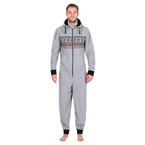LHWY Jumpsuit Herren, Männer Overall Hoodies Pullover Kapuzenpullover Snowflake Print Langarm einteilige Hosen Sportswear Casual Home Sweatshirt Grau Top Zipper Pocket (S, Grau) (2 Pocket-leinen-tunika)