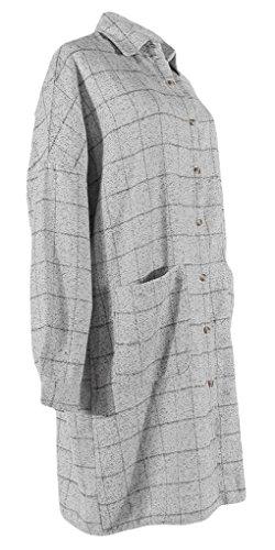 La vogue robe chemise droite femme longue tunique carreaux manche longue Gris