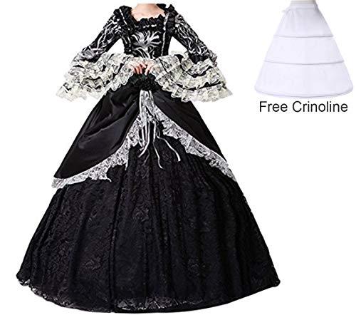 Karneval Kostüm Sissi - NuoqiDamen Satin Gothic Victorian Prinzessin Kleid