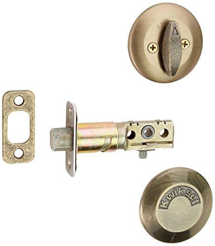 Kwikset 667-5 One Sided Turn Deadbolt with Blank Plate Antique Brass Finish by Kwikset