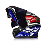 GSDZN - Motorradhelm Integralhelme Klapphelme Motorrad Helme, Bluetooth, Eingebaute Sonnenblende, Anti-Fog Anti-UV,Blue(Teamirror)-63-64cm