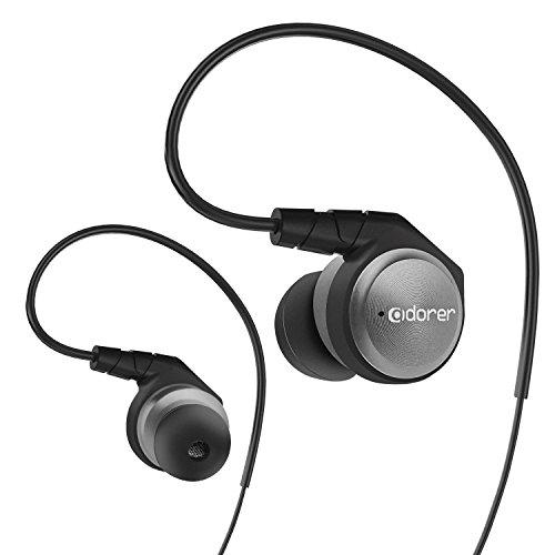Adorer M9 High-Fidelity Kopfhörer in ears Hi-Fi Ohrhörer mit Mikrofon, Aluminiumgehäuse, Geräuschisolierung, Over-the-ear-Kabel für iOS, Android - Grau