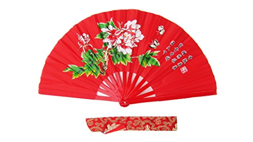 CHN Elements.accessories FD-P-Red-Bamboo Folding Fan Tai Chi Fan/Kung Fu Fan/Martial Arts/Dancing Fan Oriental - Kostüm Für Tanz Lehrer