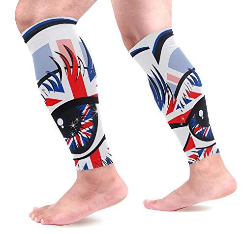 Bgejkos London Eye Wadenkompressions-Ärmel,Leg Performance Support for Men & Women Running Cycling Guards Sleeves 1 Pair (Dog Leg Bands)