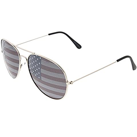 zeroUV - American Flag USA Classic Teardrop Metal Aviator Sunglasses (Silver)