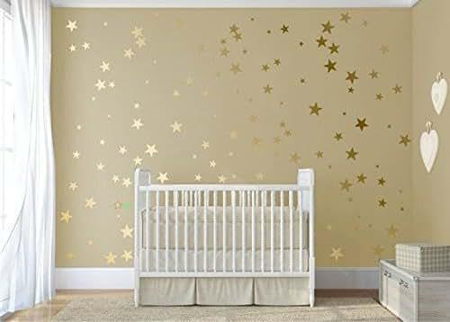 Gold Star Wall Decor: 120 Gold Metallic Stars Nursery Wall Stickers, Gold Wall