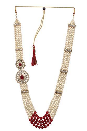 Sanjog Embellished Coloured Stone Premium Long Pearl Jewellery Necklace For Men/Groom For Wedding Wear(Dule Ki Mala)