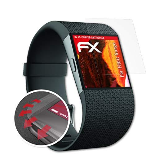 atFoliX Schutzfolie passend für Fitbit Surge Folie, entspiegelnde & Flexible FX Bildschirmschutzfolie (3X)