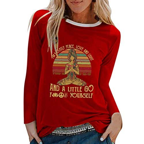 TYTUOO Tops Für Damen Casual Yoga Print Shirts O-Ausschnitt Langarm Top Lose T-Shirt Bluse