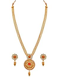 JFL - Jewellery For Less One Gram Gold Plated Stone & Pearl Designer Necklace Set For Women