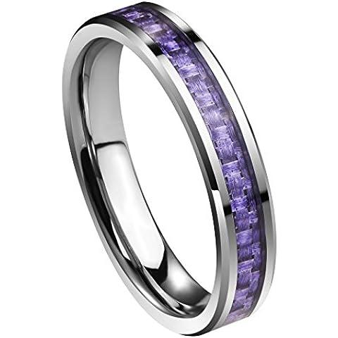 Queenwish da carburo di tungsteno, 4 mm, in fibra di carbonio, colore: viola, fedi-Inserto Comfort, con anello - Fibra Di Carbonio Cobalt