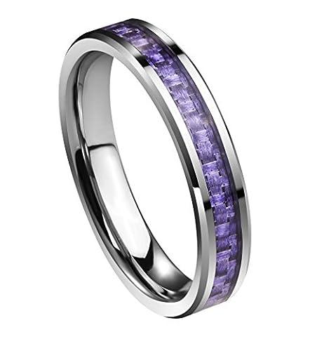 queenwish Damen 4mm Wolframcarbid Karbonfaser lila Inlay Hochzeit Bands Ring Comfort Fit mit Ring Box
