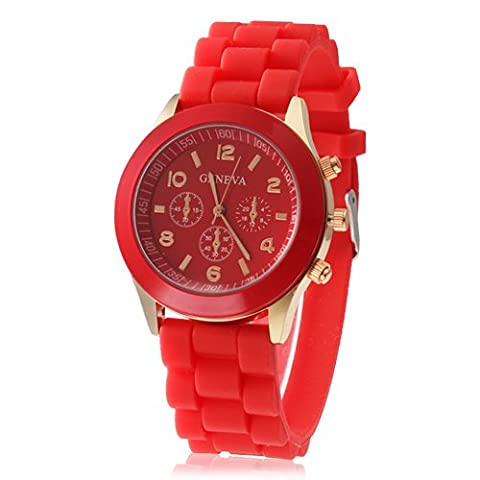 Hot sale New Fashion Designer Ladies sports brand silicone watch jelly watch quartz watch for women men (Red)