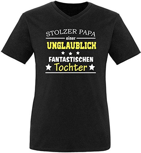 EZYshirt® Stolzer Papa einer unglaublich fantastischen Tochter Herren V-Neck T-Shirt Schwarz/ Weiß/ Gelb
