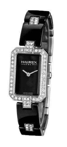 Haurex Italy Miroir Black Dial Ceramic Watch #XS357DN1 - Reloj de mujer de cuarzo, correa de acero inoxidable color plata