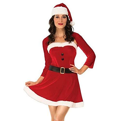 WARMWORD Disfraz Miss Santa Navidad Vestido Capucha