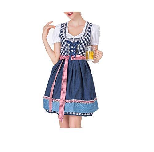 Damen Oktoberfest Dirndl,2019 Frau kostüme Oktoberfest Karneval Kostüm Traditionelles Kleid Halloween Cosplay Trachtenkleid Maid Kostüm Plaid Kurzarm Kleider TWBB (2019 Kostüme Lustige Erwachsene)