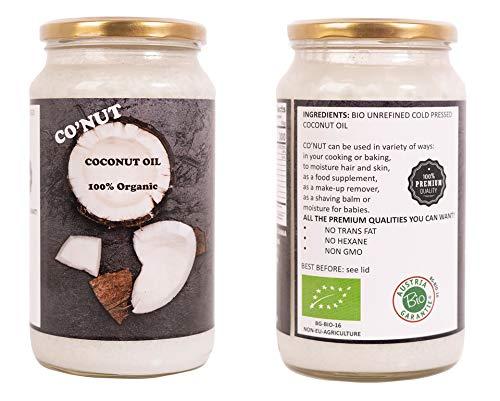 Co'NUT Bio Kokosöl - 1000mL (1L) 920g - Bio Kaltgepresst, Rohkostqualität, Rein (1000ml) - zum Kochen, Braten und Backen, für Haare und Haut
