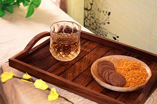 Holz-Serviertablett, Palisander Sheesham Holz Indische Handarbeit für Serviertablett/Esstisch., Palisander, Stil 3, 14x10 inch -