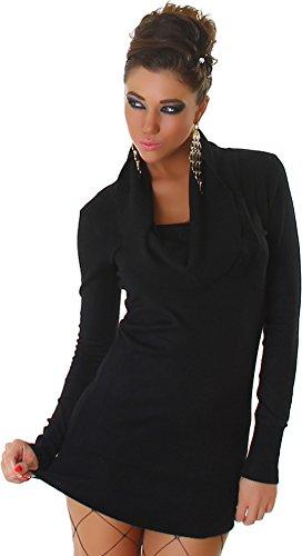 Panacher Damen Strickkleid Kleid Pullover Longpulli Wasserfall-Ausschnitt Einheitsgröße - Schwarz , Onesize (34-40)